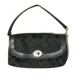 Coach Black Canvas Itty Bitty Bag Wallet Purse